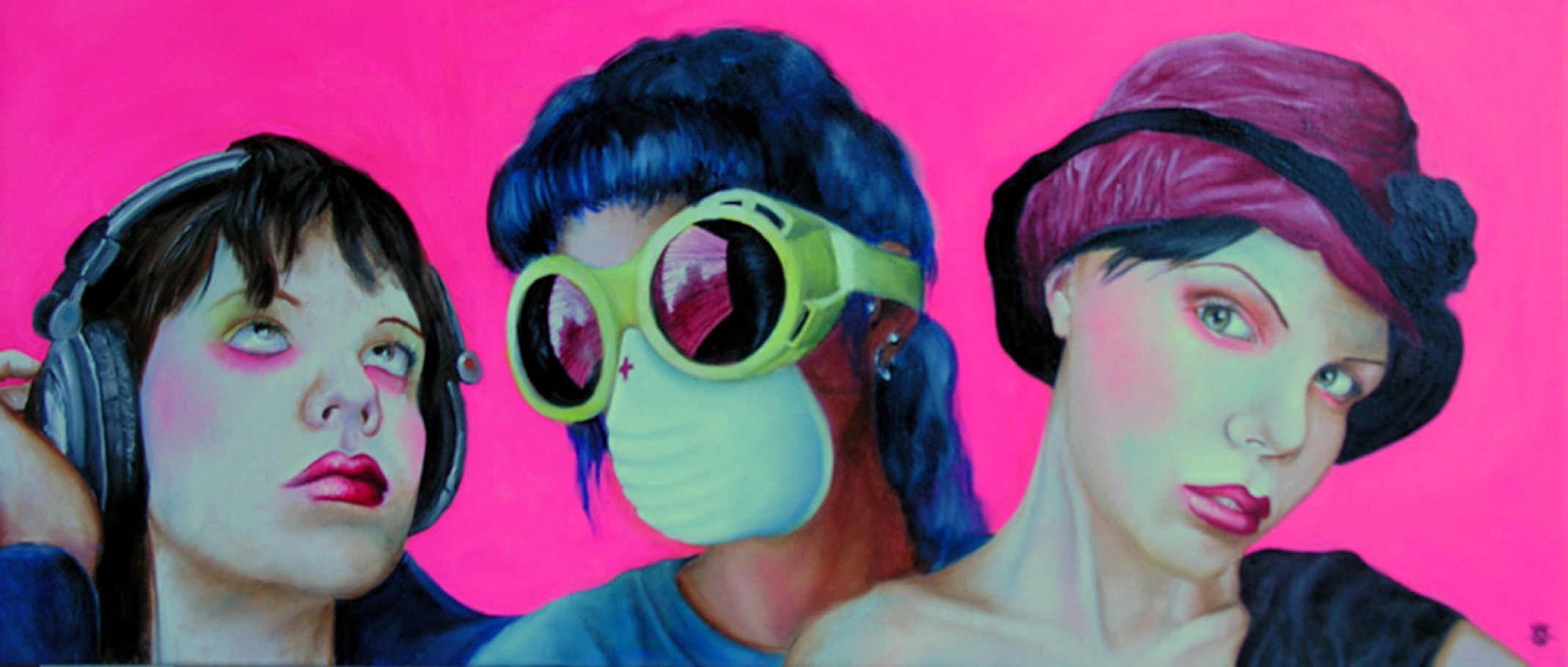 Cyber girls 50x100 cm oil on canvas 2005