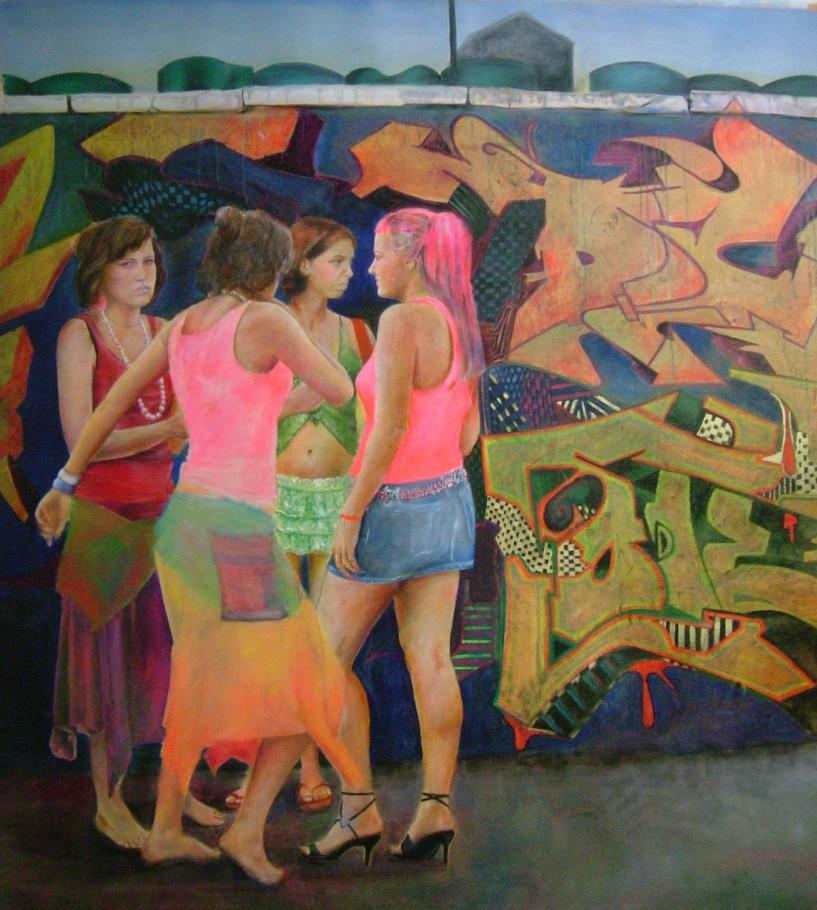 Backstreet girls 160x 160 cm oil on canvas 2006
