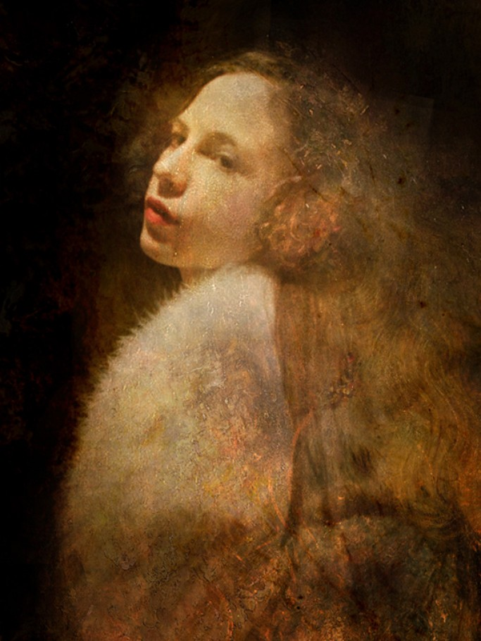 Girl with ostrich cape 45x60 cm Gallery Print