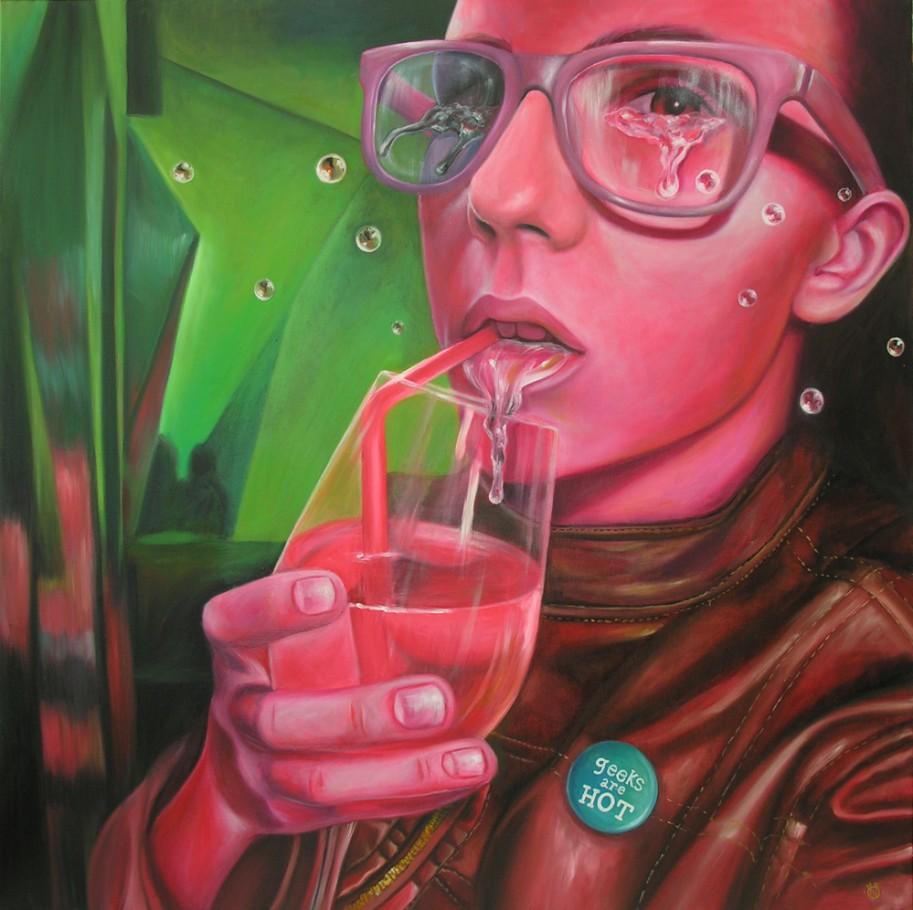 Geeks are hot 130x130 cm oil on canvas 2012