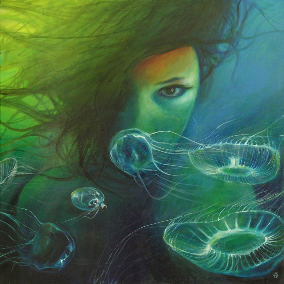 Among Jellyfish 100x100 cm oil on canvas 2010