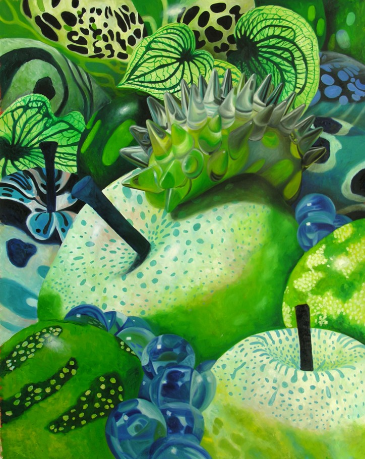 Temptation green-blue 150x120 cm oil on canvas 2013