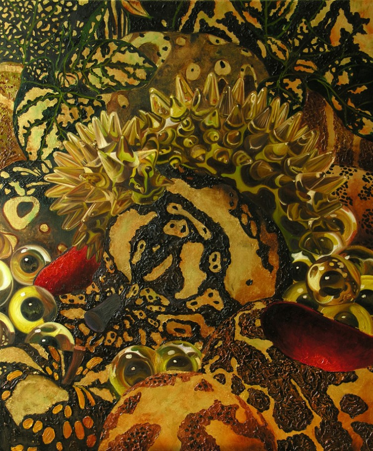 Temptation gold 100x115 cm oil and gold leaf on canvas 2014