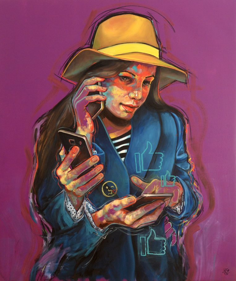 Smartphone 2. 130x110 cm oil and chalk on canvas 2017