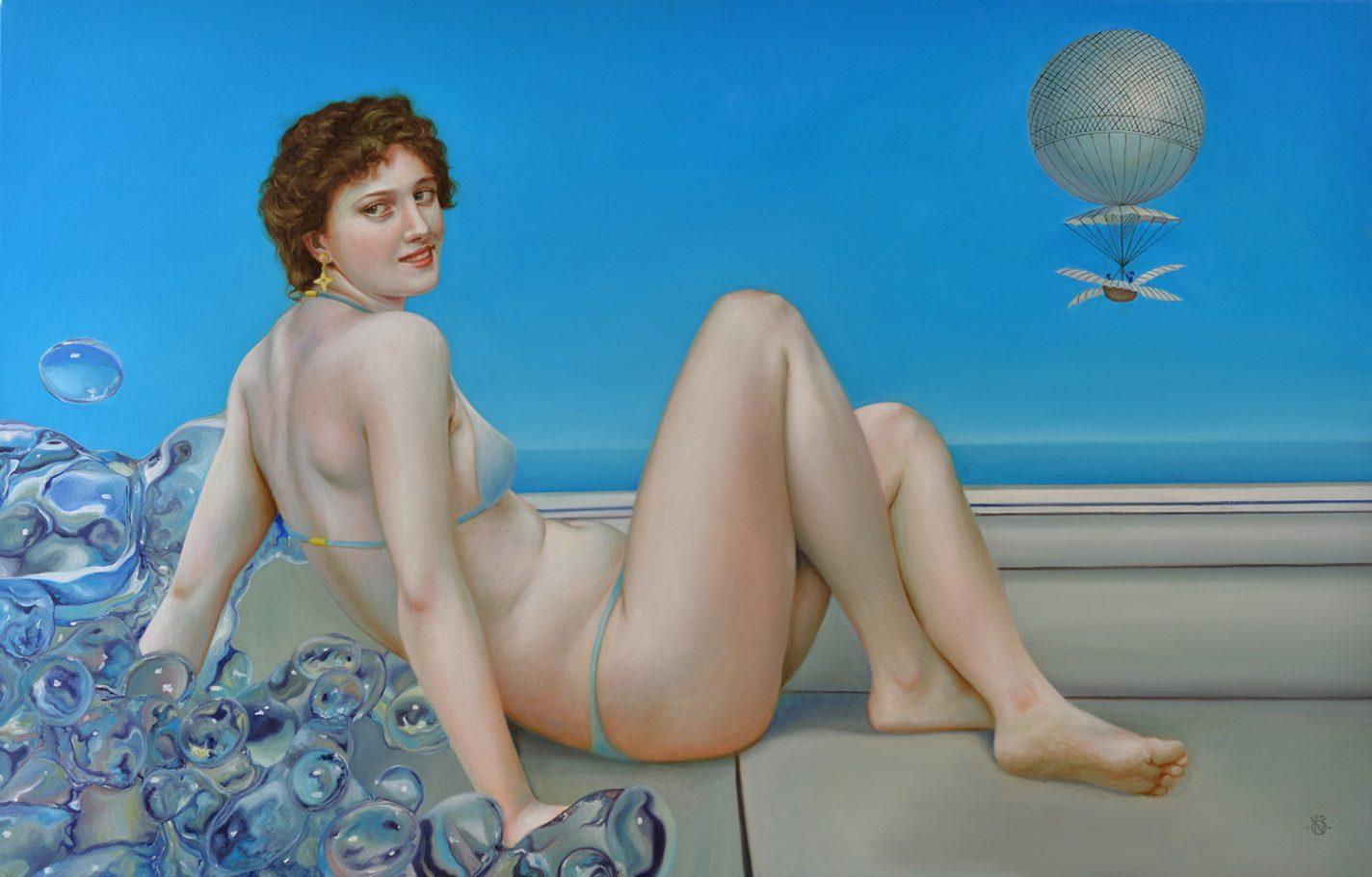 Airship (Hommage á Bouguereau) 90x140 cm oil on canvas 2017