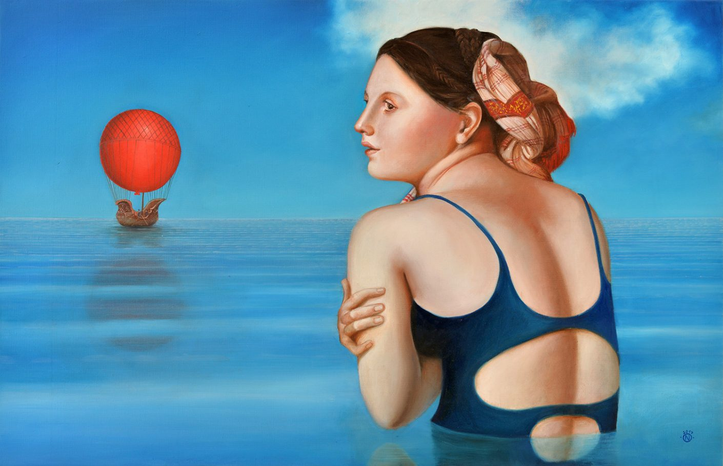 The water is too cold!  60x100 cm oil on canvas 2017