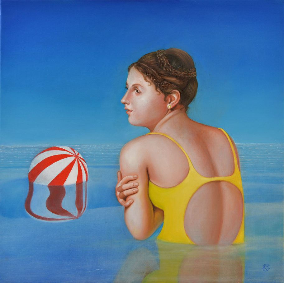 Ingeborg and the ball (Hommage á Ingres) 50x50 cm oil on canvas 2017
