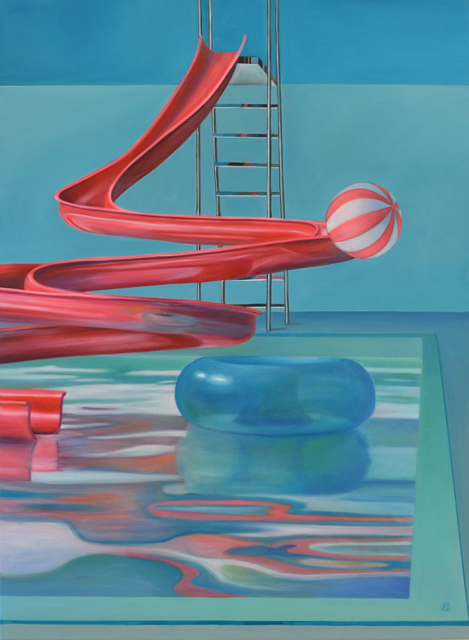 Pool scene / Medence,Csend,Élet 140x120 cm oil on canvas 2012/2017