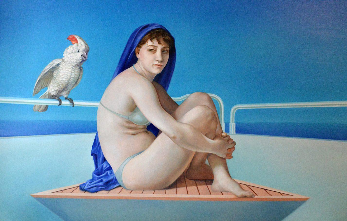 Titania and the cockatoo (Hommage á Bouguereau) 90x140 cm oil on canvas 2017