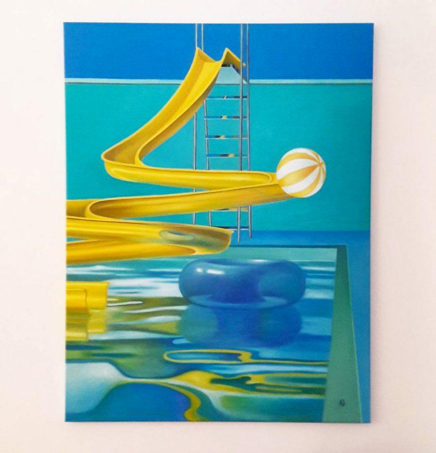 Pool scene / Medence,Csend,Élet 120x90 cm oil on canvas 2017
