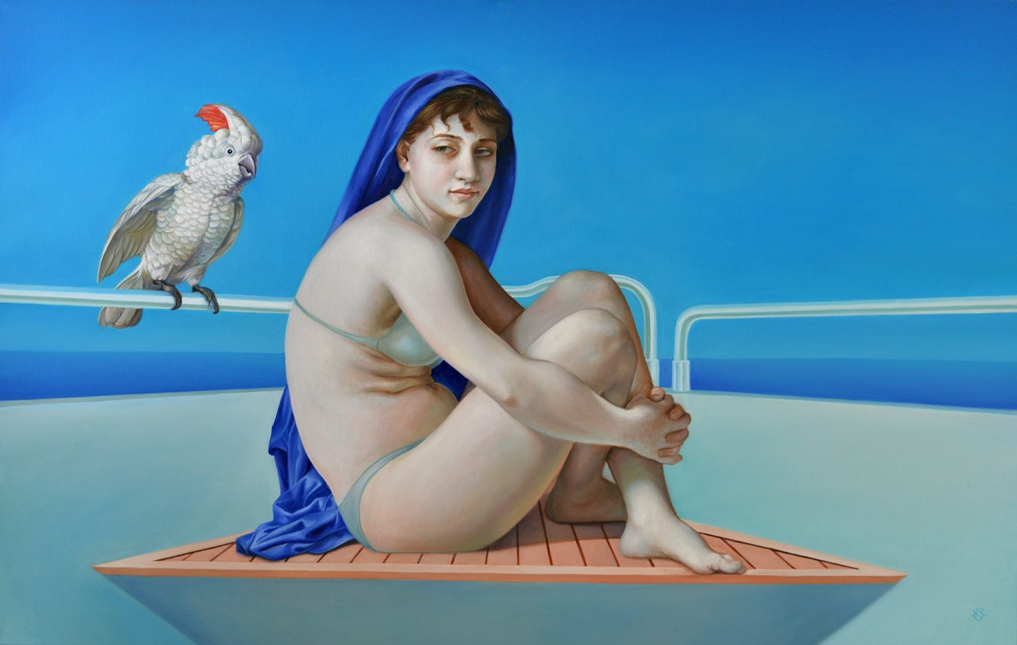 Titania and the cockatoo 90x140 cm oil on canvas 2017