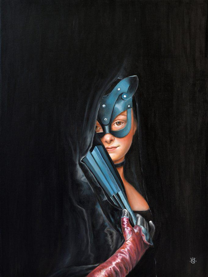 Chat noir - Black cat 80x60 cm oil on canvas 2018