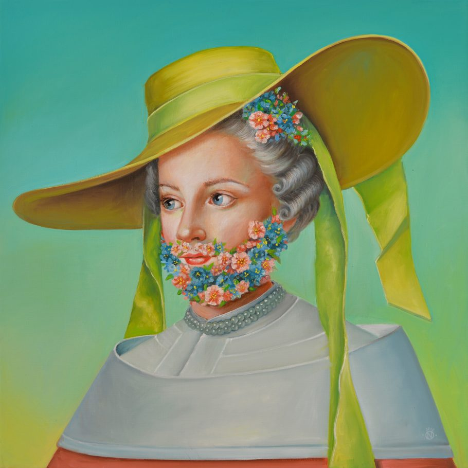 Sepherdess 60x60 cm oil on canvas 2018