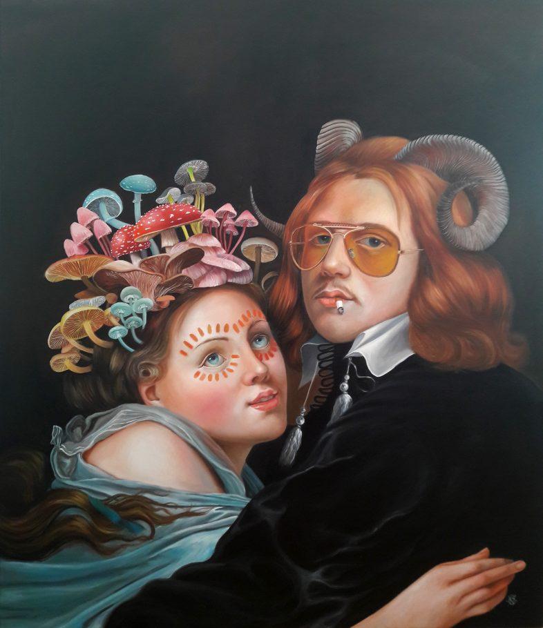 Couple Goalz 130x130 cm oil on canvas 2018