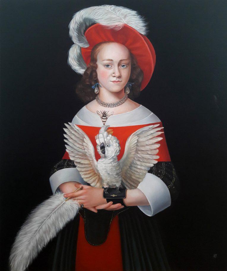 Cockatoo fetish 100 x 120 cm oil on canvas 2018