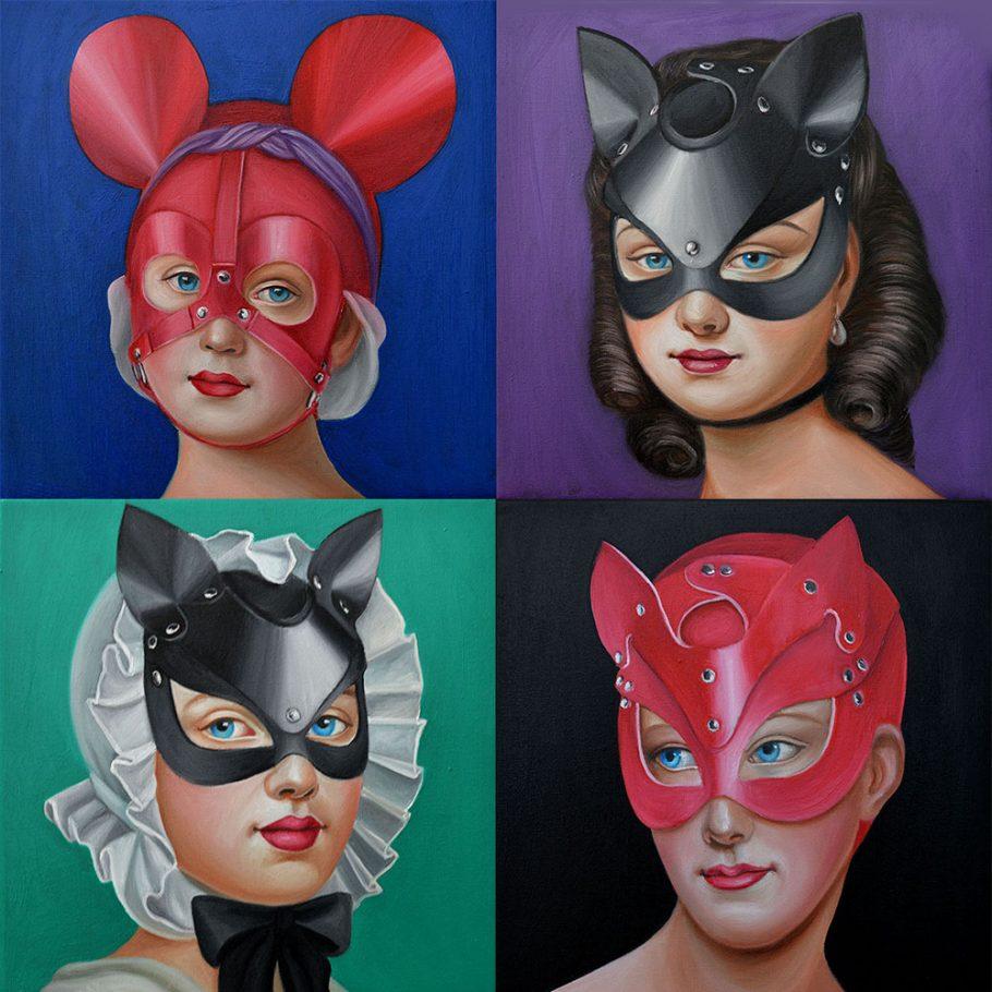 Fetish mask 1-4 25x25 cm oil on canvas