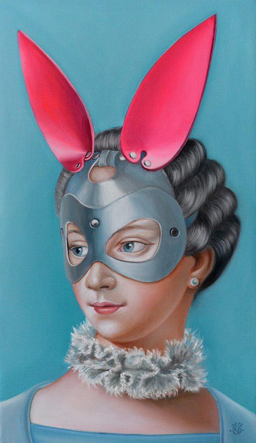 Cyber Bunny 29x59 cmoil on canvas 2019