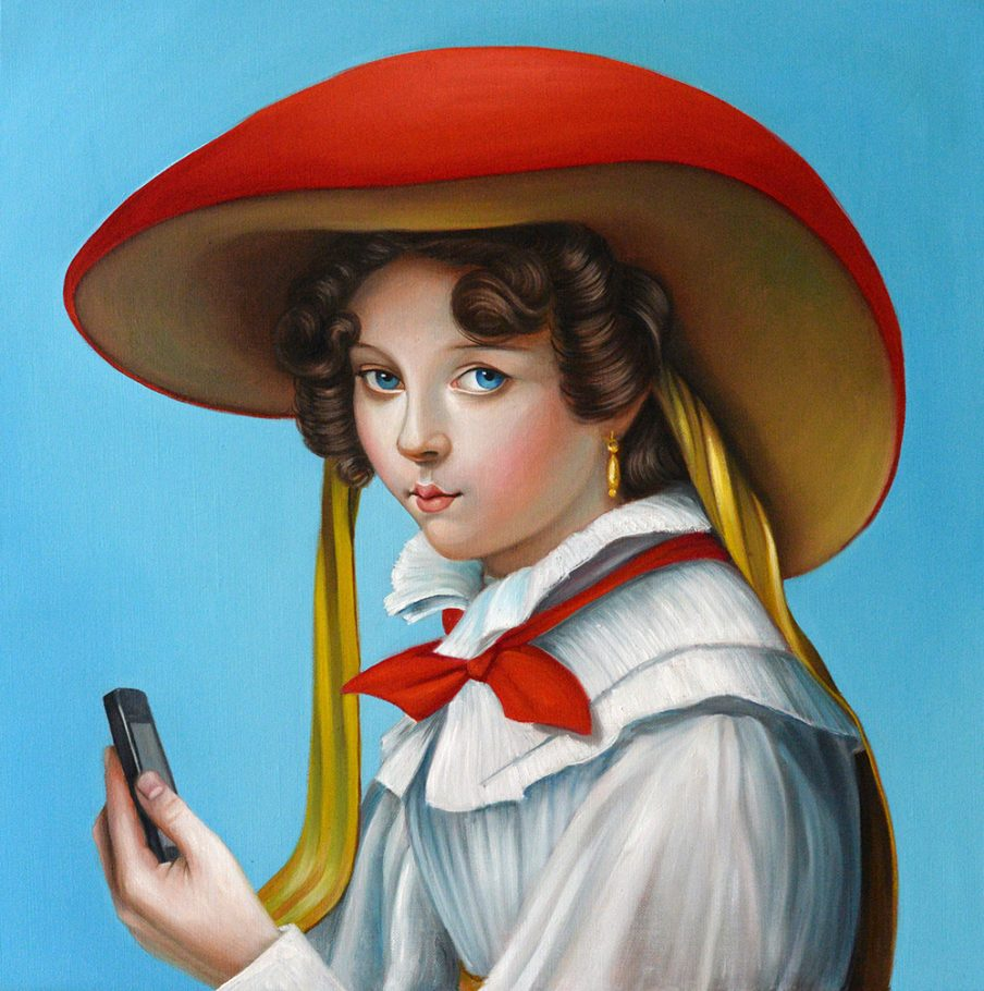 Mushroom Girl 60x60 cm oil on canvas 2019