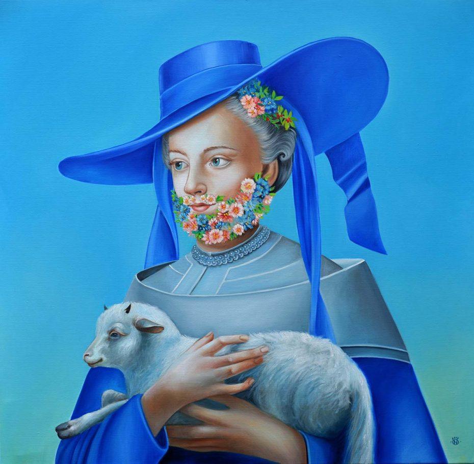 Sepherdesse blue (Agnus Diaboli) 100x100 cm oil on canvas 2019