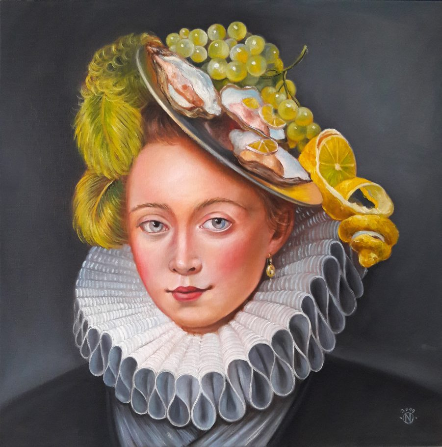 Oyster Lady 2 50x50 cm oil on canvas 2019