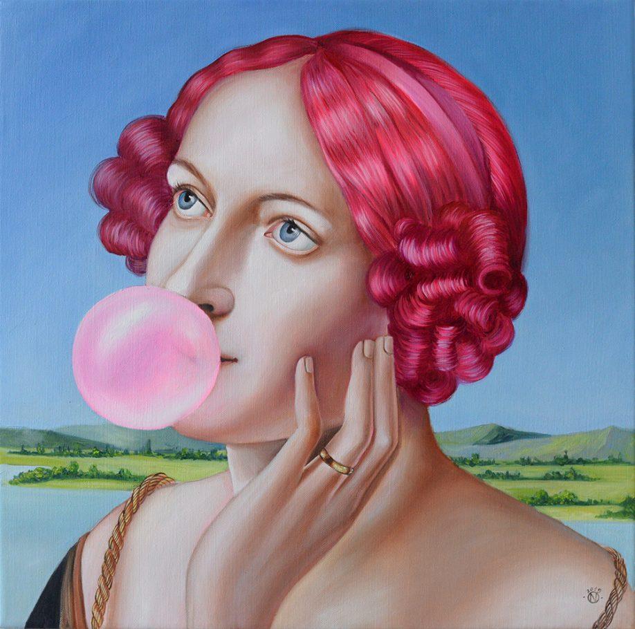 Bubblegum 40x40 cm oil on canvas 2019
