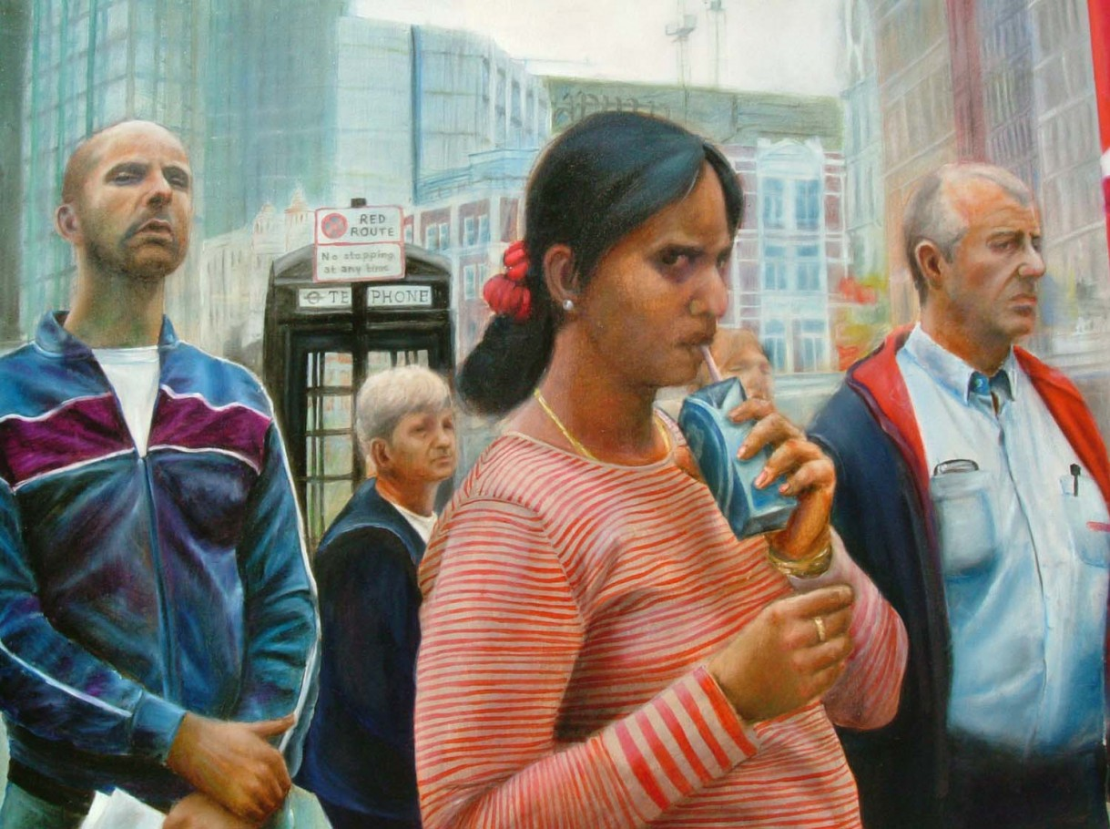 Waiting for the bus 110x90 cm oil on canvas 2005