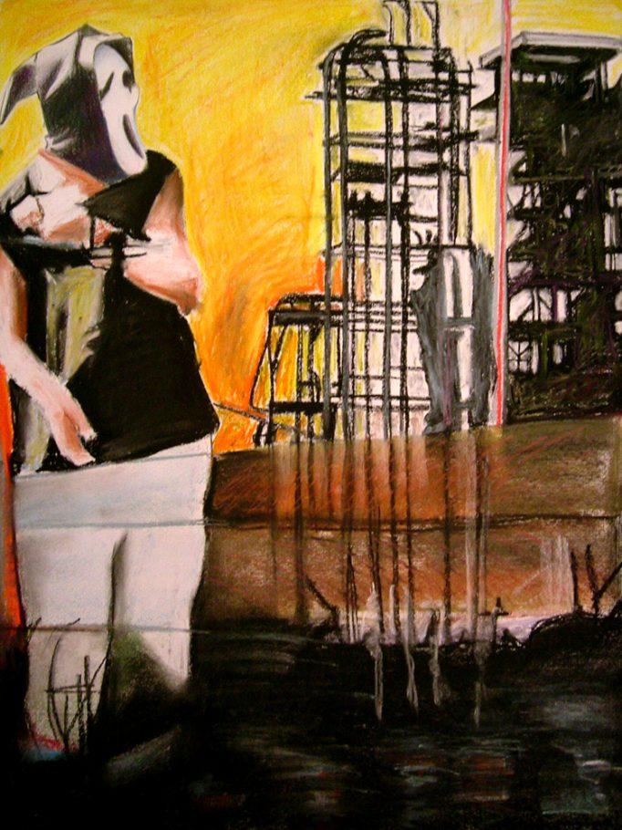 Industrial scream 50x60cm pastel on paper 2006