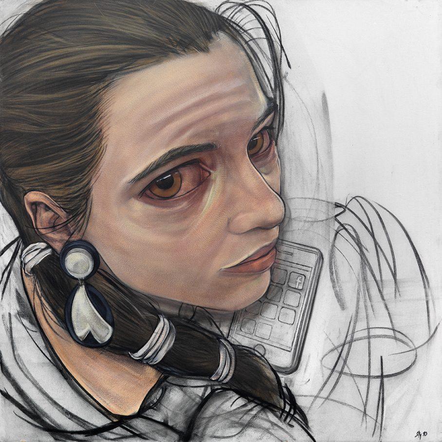 "Stylianos Schicho ""Noemi"" 100x100 cm chalk and acrlyic on canvas 2010"